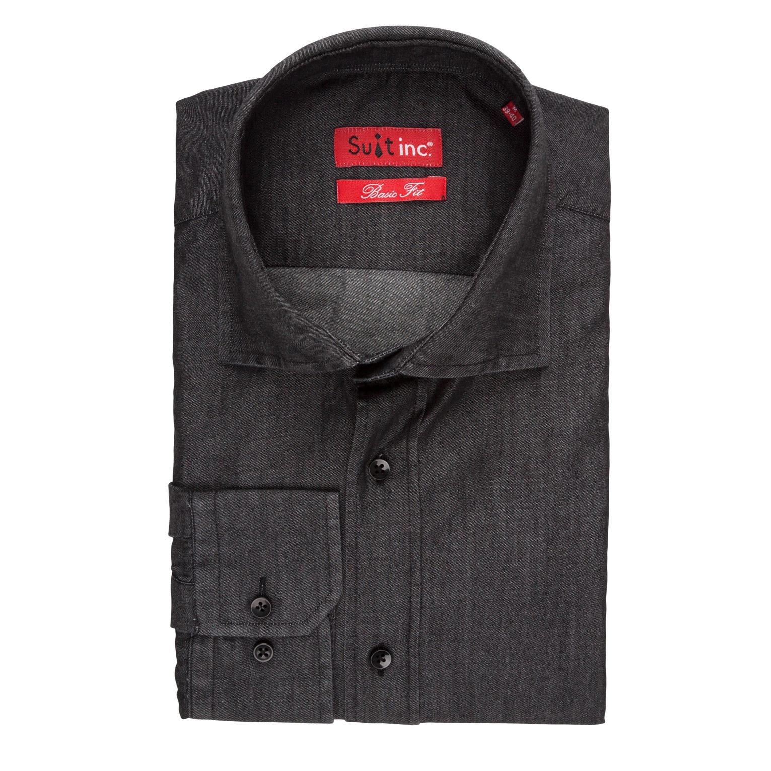 overhemd denim zwart